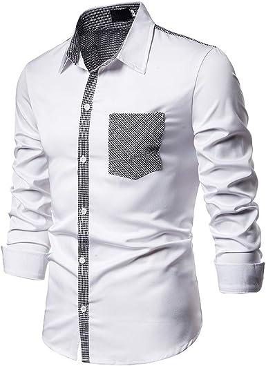 SoonerQuicker Camisas de Hombre Camiseta de Cuadros Blusa de Manga Larga con Cuello Redondo y Botones Ajustados Casual Formal para Hombre T Shirt tee: Amazon.es: Ropa y accesorios