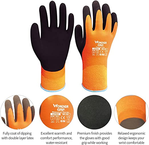 PAIR OF HEAVY DUTY LATEX DIPPED RUBBER WORK GLOVES Extra Grip Protect Gardening