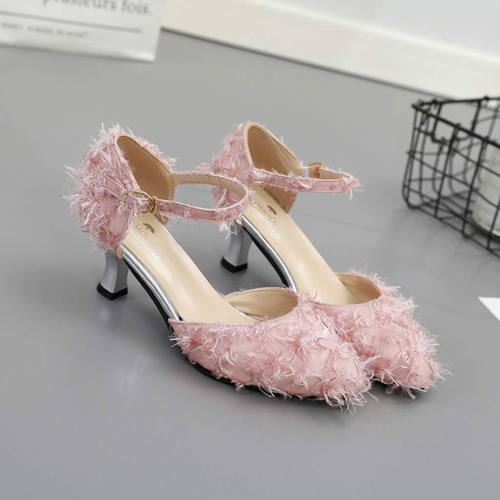 Moonker Women Ladies High Heels Dress Party Pump Sandals Casual Shoes Ankle Belt Buckle Sandals Single Shoes