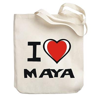 Teeburon I love Maya Canvas Tote Bag