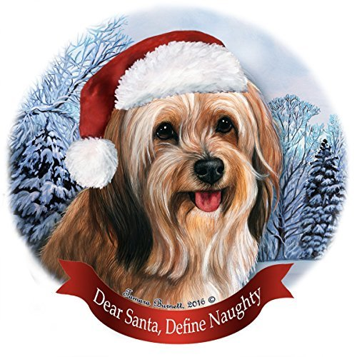 Sable Christmas Ornaments (Holiday Pet Gifts Sable Tibetan Terrier Santa Hat Dog Porcelain Christmas Tree Ornament)