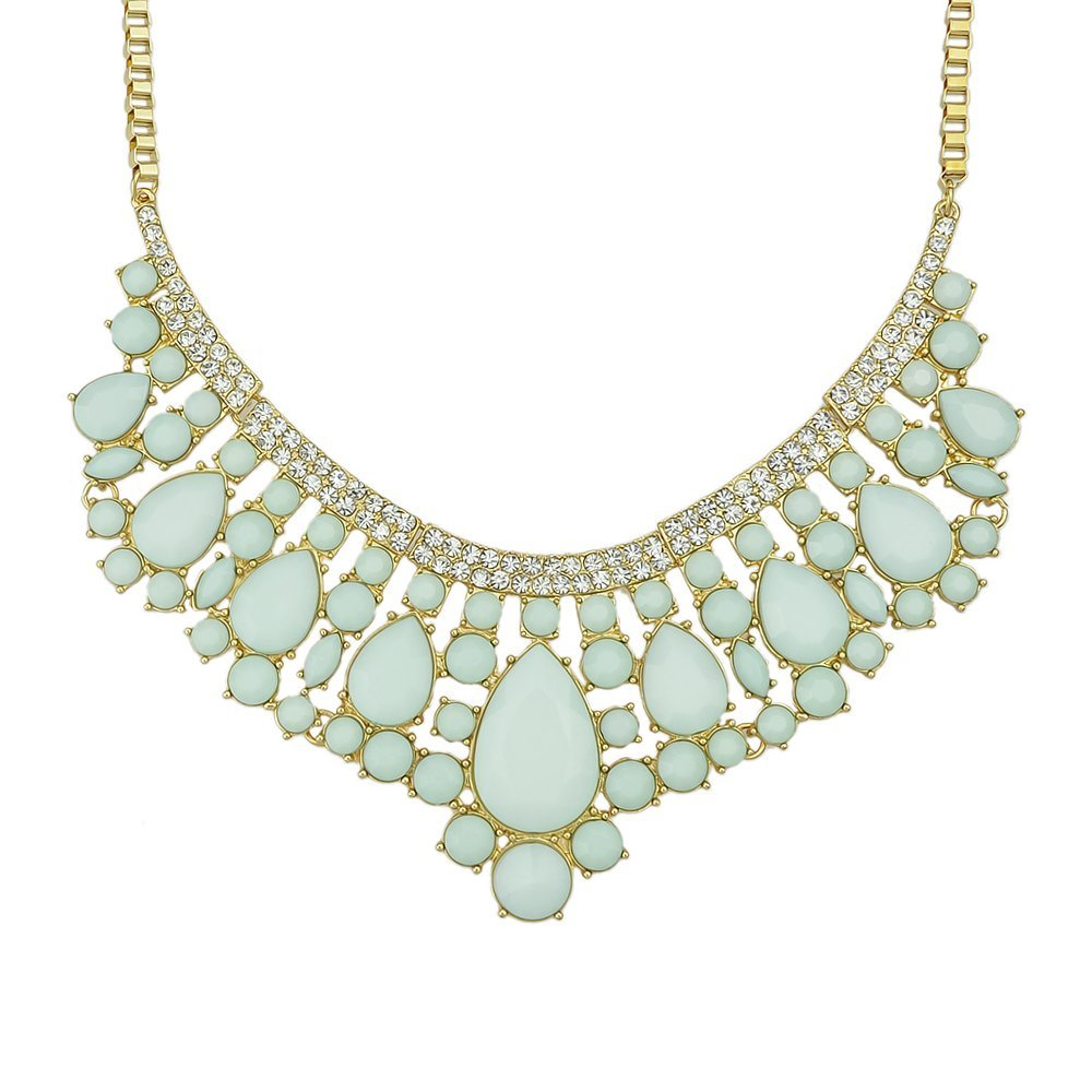 Feelontop® Fashion Jewelry Green Gemstone Water Drop Collar Bib Necklace with Feelontop Pouch Nc-7365