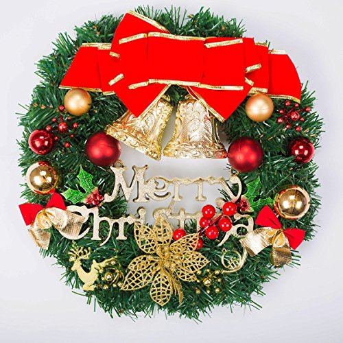 Christmas Wreath, SOMAN Round Door Wall Decoration with Gold Bell,Ball,Fire Berries 9-Inch (Display On Christmas Cards Stairs)