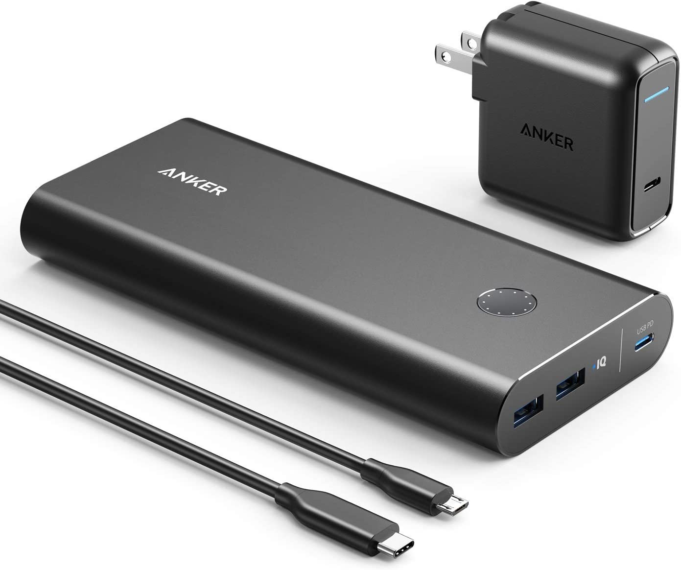 Anker PowerCore+ 26800 PD with 30W Power Delivery Charger, Portable Charger Bundle for MacBook Air, iPhone XS Max / X , and USB Type-C Laptops with Power Delivery (Renewed)