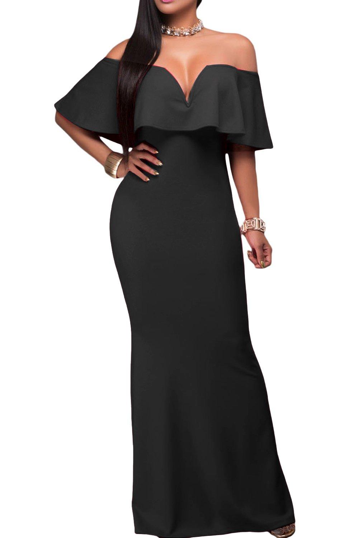 AlvaQ Women's Sexy Bridesmaids V Neck Ruffle Off Shoulder Graduation Evening Long Maxi Party Dress Prom Black
