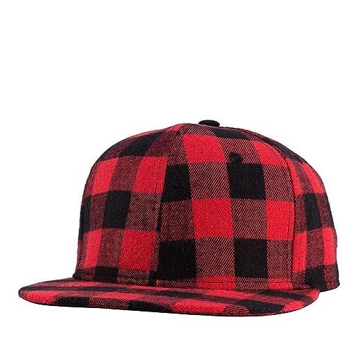 b85cc9c55e2 MCSAYS Hip Hop Fashion Baseball Hat Cap Snapback Red and Black Plaid ...