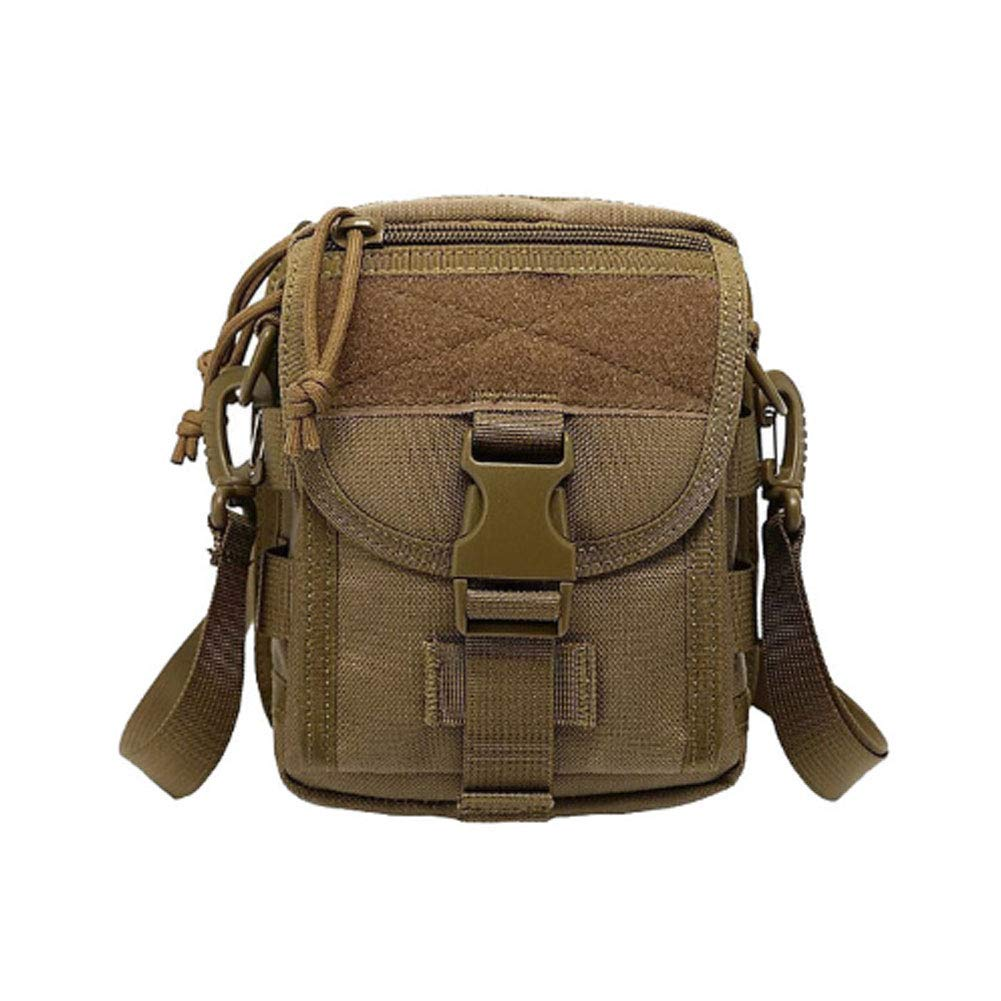 Khaki Outdoor Tactical Bag, Waterproof Oxford Cloth Nylon Shoulder Messenger Bag Waist Bag Tactical Bag Sports Riding Leisure Fishing