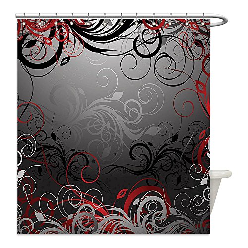Liguo88 Custom Waterproof Bathroom Shower Curtain Polyester Red and Black Mystic Magical Forest Inspired Floral Swirls Leaves Charcoal Grey Light Grey and Scarlet Decorative bathroom