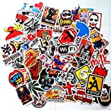 Dotiow Skateboard Luggage Stickers No Duplicated White Black Colorful Decal Vinyl Graffiti Flim Music Sticker Travel Car Bumper GDM Bomb Wall Decor Pack of 200 Colorful Stickers