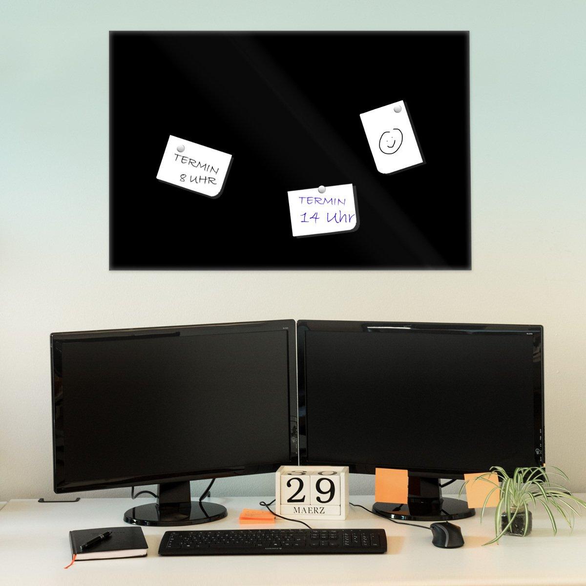 Bacheca Memoboard decorativa Mappa del mondo su legno Navaris Lavagna magnetica in vetro scrivibile 90x60cm 5x magneti 1x pennarello set fissaggio