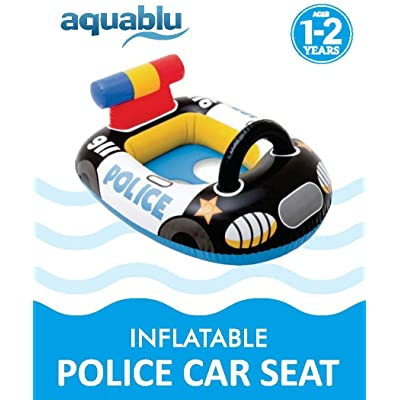 aquablu Inflatable Police Car Cool Summertime Swim Seat & Float Toy for Pool Beach Lake Bay & More Exciting Cruiser Steering Wheel & Solid Bottom for Toddlers Ages 1-2 Years: Toys & Games