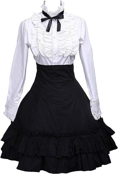 Antaina Falda de Lolita Plisada en algodón Negra y Blusa de Lazo ...
