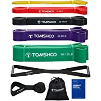 TOMSHOO 5 Packs Pull Up assist Bands Set Resistance Loop Bands Powerlifting Exercise Stretch Bands with Door anchor and…