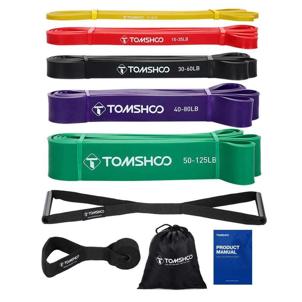 TOMSHOO 5 Packs Pull up Assist Bands, Pull up Straps, Resistance Bands with Self-Designed Press down Handles and Door Anchor, Stretch Mobility, Powerlifting and Resistance Training.