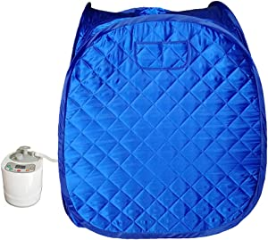 ZONEMEL Portable 2L Steam Sauna, Folding Tent, Remote Control, Full Body Slimming Loss Weight Detox Therapy-Blue