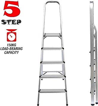 Escalera telescópica de aluminio multiusos, portátil, extensible para escalar, 2,6 m, 3,2 m, 3,8 m., plateado: Amazon.es: Bricolaje y herramientas