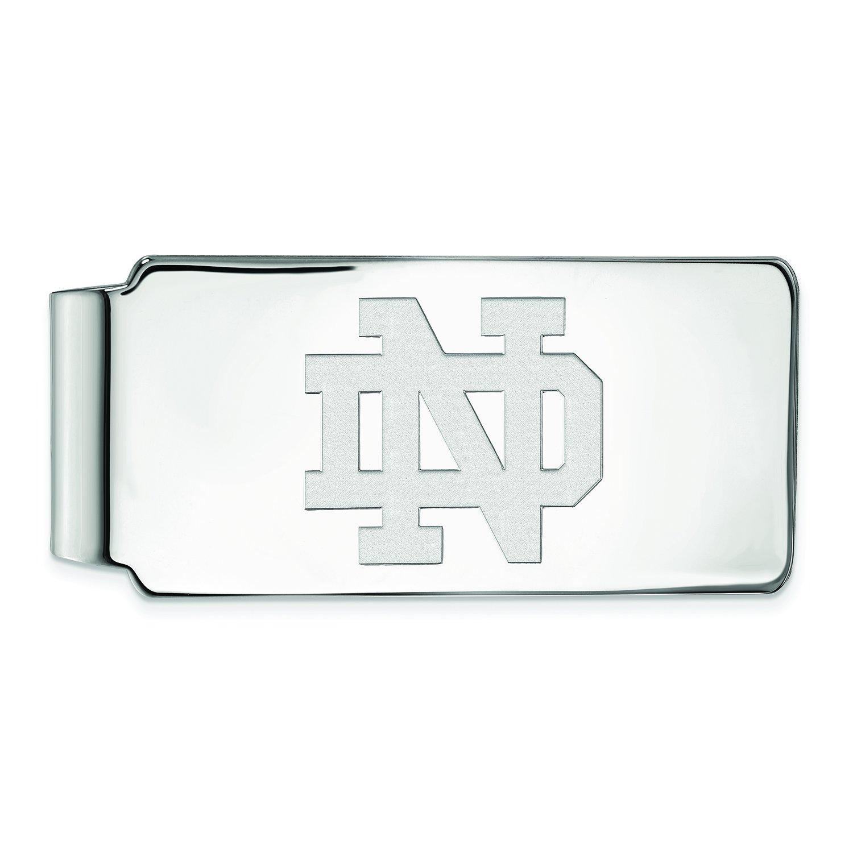 10k White Gold Logoart University Of Notre Dame Money Clip