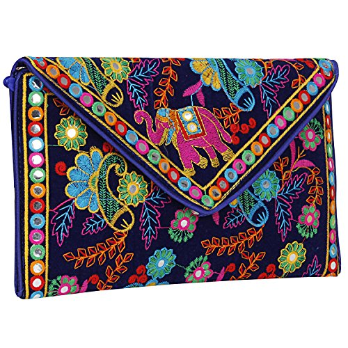 Handmade Ethnic Embroidered Banjara foldover Clutch Purse-Sling Bag-Cross Body Bag (Blue Color)