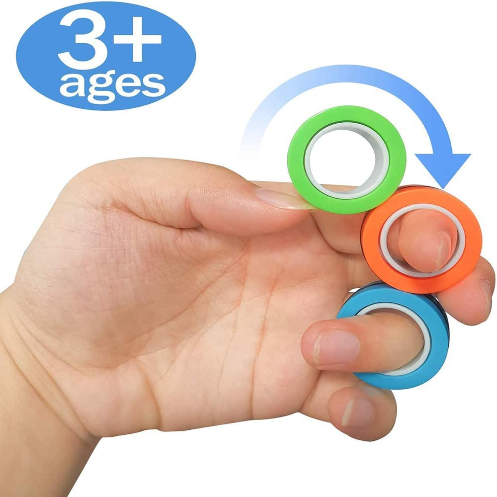 Stress Relief Reducer Spin for Adults Children Pink Colorful Finger Game Unzip Toy Magnetic Rings Toys Magnetic Bracelet Ring Unzip Toy Magical Ring Props Tools