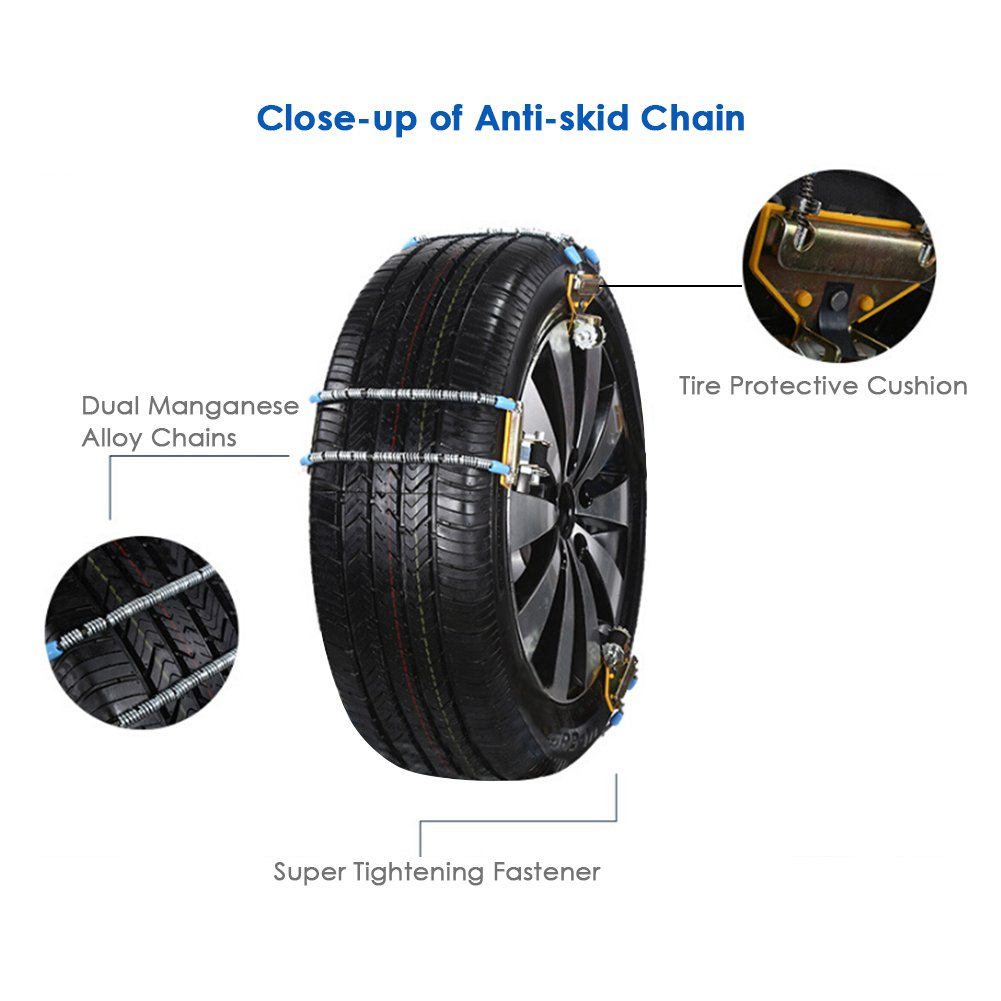 Car Anti-skid Chain, New Manganese Alloy Universal Tire Chain Snowy Muddy Ground Anti-skid Emergency Quick Installation Anti-slip Anti Snow Chains for Car 1 PC(Large: 215-315cm/84.65-124.02in)