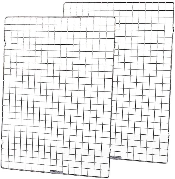 """Baking Rack Commercial Grade cooling racks for baking Thick-Wire wire rack bakinges Nontoxic for Roastinges baking rack for oven Safe wire coolings rack Roasting Drying 14.5""""×20.5""""-Set of 2-Silver"""