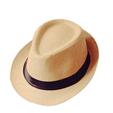 328f2e02f37 Leisial Panama Fedora Hats for Men Trilby Hat Panama Style Summer Sun Jazz Cap  Trilby Straw Hats for Men Safari Beach Hat(Light Brown)  Amazon.co.uk  ...
