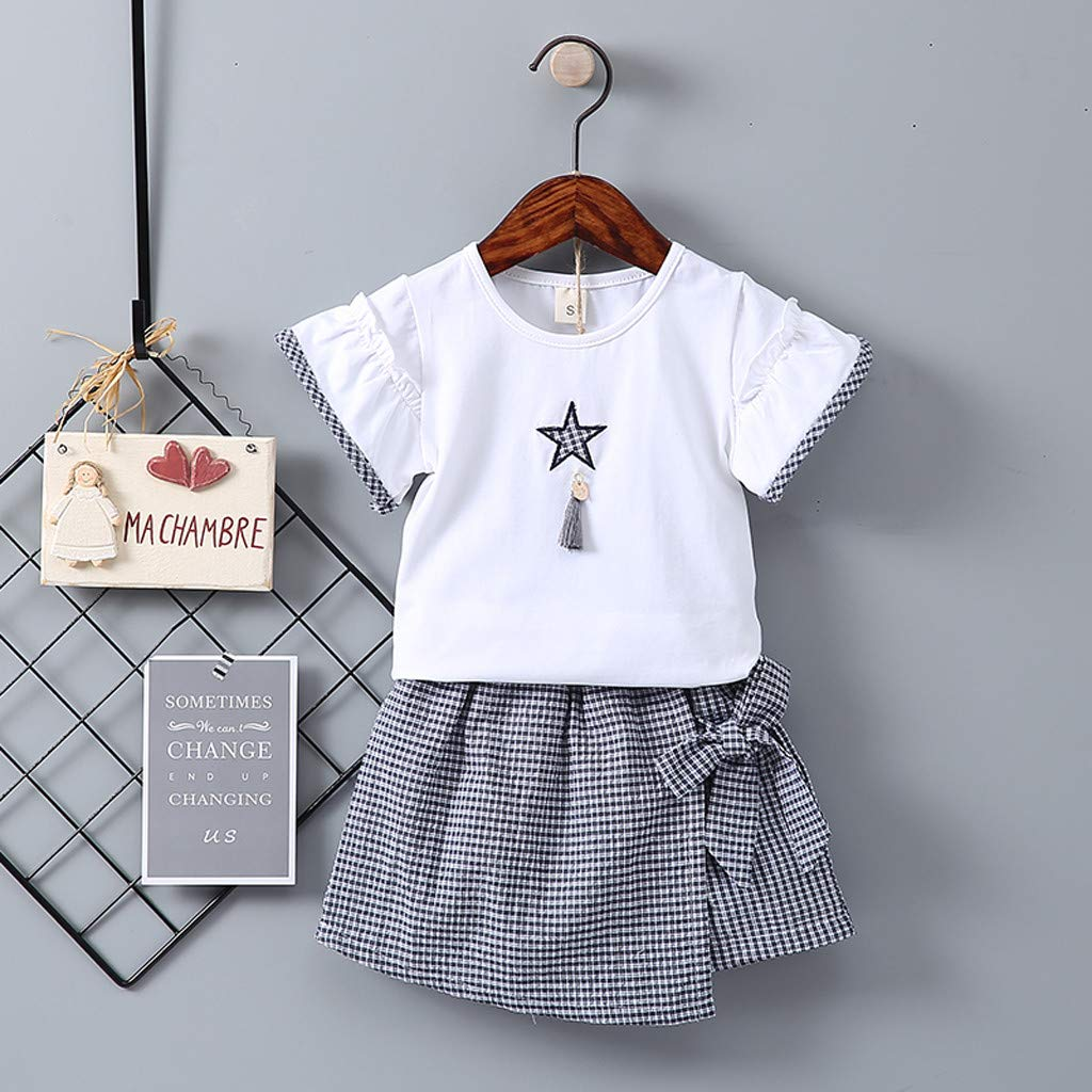 Baby Girls 2pcs Dress, Toddler Kids Short Sleeve Print T-Shirt Tops + Plaid Bowknot Skirt Outfits Set (12-18 Months, Navy) by Hopwin Baby girls Suits (Image #2)