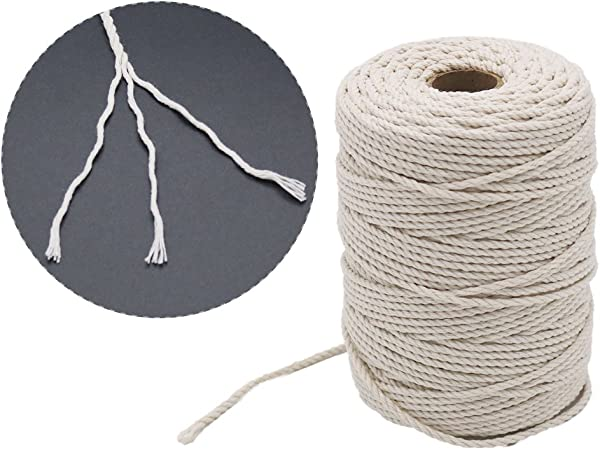 Norand Bakers Twine String 2MM White Cotton Cord Macrame Rope Cooking String for Cooking Trussing Tying Poultry Meat Sausage Rotisserie and Gift Wrapping DIY Crafts 100M