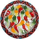 Fusion Art Glass - Chili Pepper Mexican 14'' Ribbed Serving Bowl