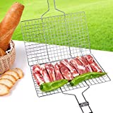 Portable BBQ Barbeque Grilling Basket for Fish Vegetables Steak Stainless Steel Non Stick Wooden Handle and Useful BBQ Tool Silver