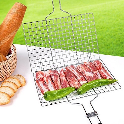 Portable BBQ Barbeque Grilling Basket for Fish Vegetables Steak Stainless Steel Non Stick Wooden Handle and Useful BBQ Tool Silver by SHOB