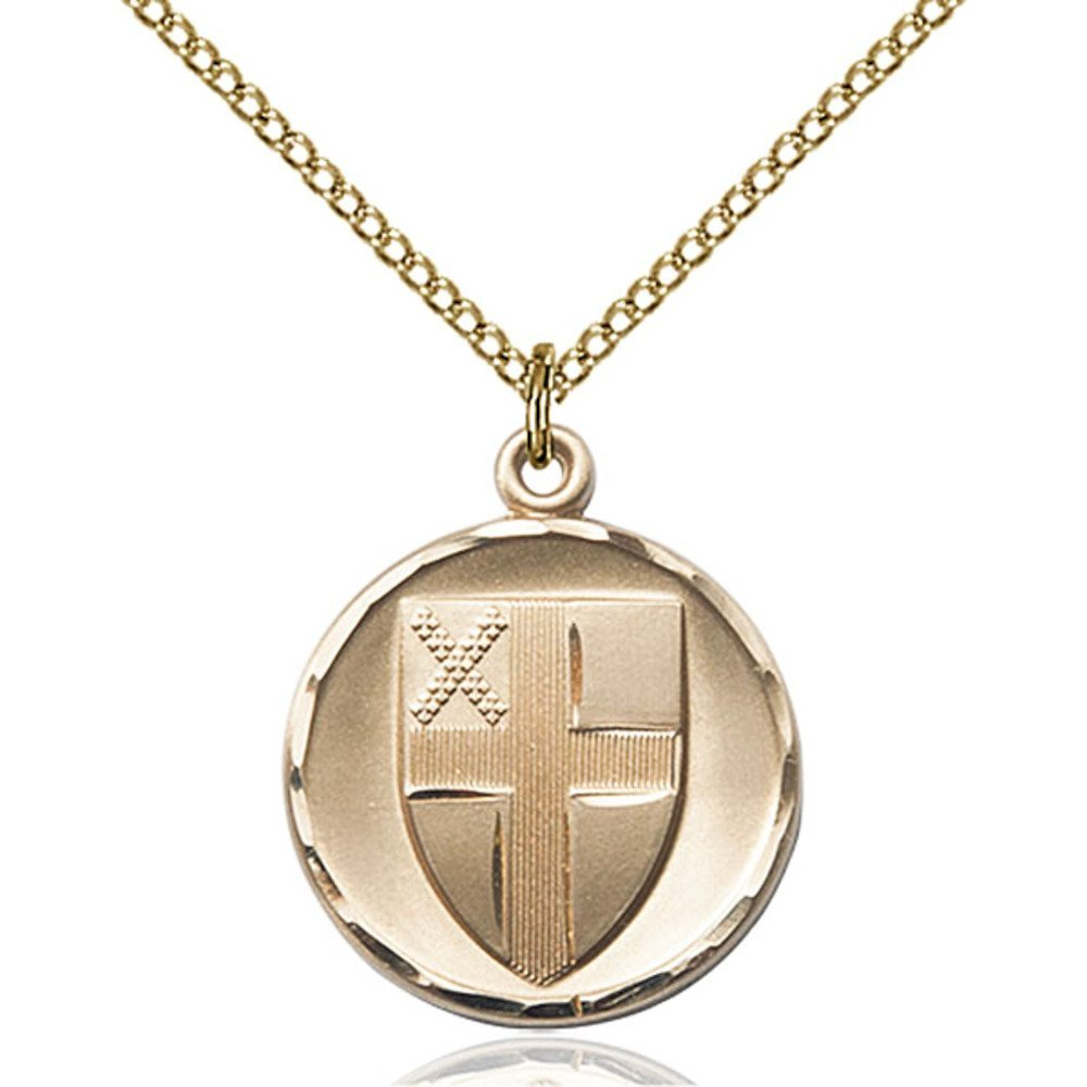 Gold Filled Women's EPISCOPAL Pendant - Includes 18 Inch Light Curb Chain - Deluxe Gift Box Included