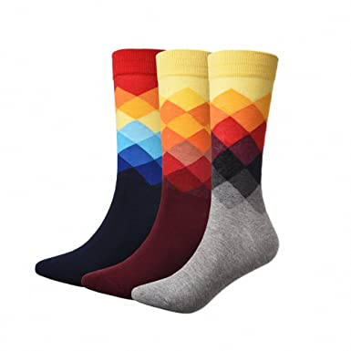 3 Pairs/Lot Mens Socks British Style Plaid Calcetines Gradient Color Long Cotton Warm Socks