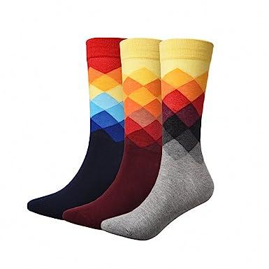 3 Pairs/Lot Mens Socks British Style Plaid Calcetines Gradient Color Long Cotton Warm Socks