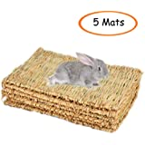 Grass Mat,Woven Bed Mat for Small Animal,Chew Toy Bed Play Ball for Guinea Pig Parrot Rabbit Bunny Hamster (5Grass Mat)