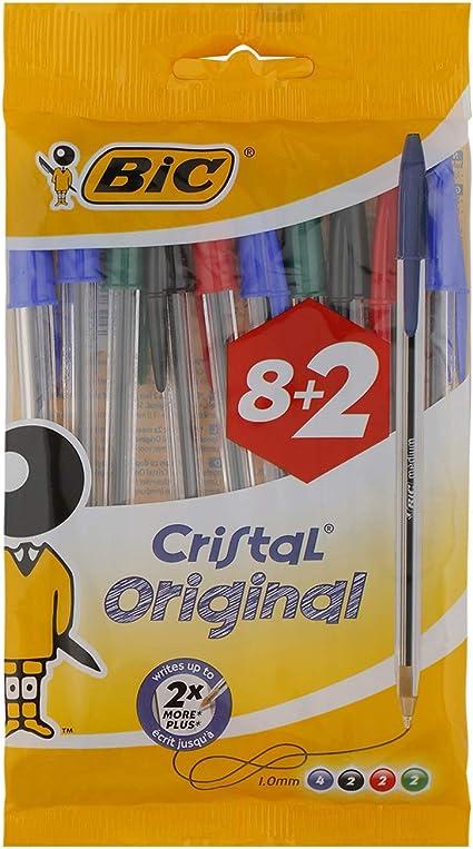 BIC Cristal Original bolígrafos punta media (1,0 mm) – colores Surtidos, Blíster de 8+2 unidades: Amazon.es: Oficina y papelería