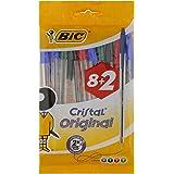 BIC Cristal Original Bolígrafos Punta Media (1,0 mm) – Colores Surtidos, Blíster de 8+2, para escritura suave…