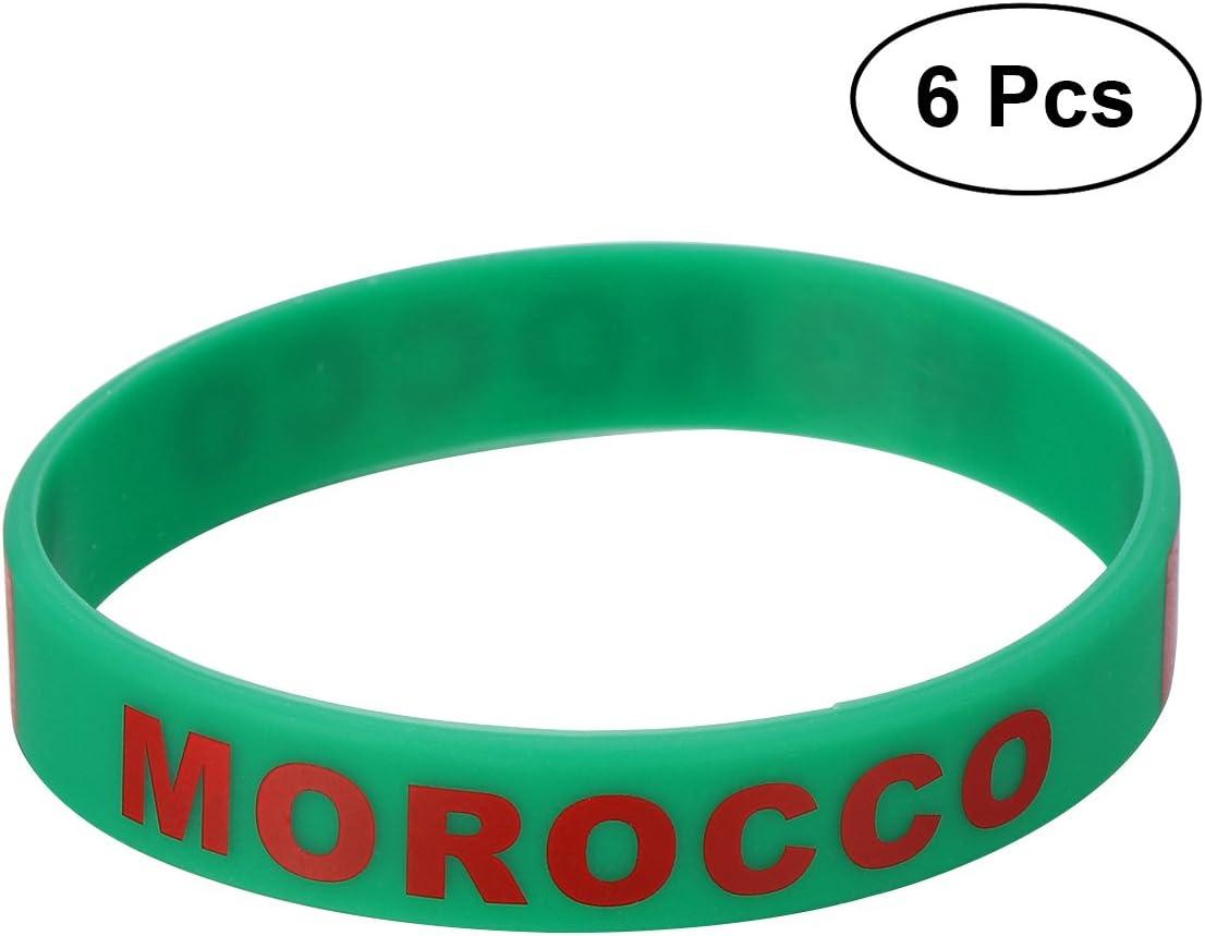 LUOEM Pulsera de silicona con pulsera de silicona inspirada Pulsera de moda con forma deportiva, Unisex Moda de adulto adolescente suprema para Copa Mundial 2018, Paquete de 6 (Marruecos): Amazon.es: Juguetes y