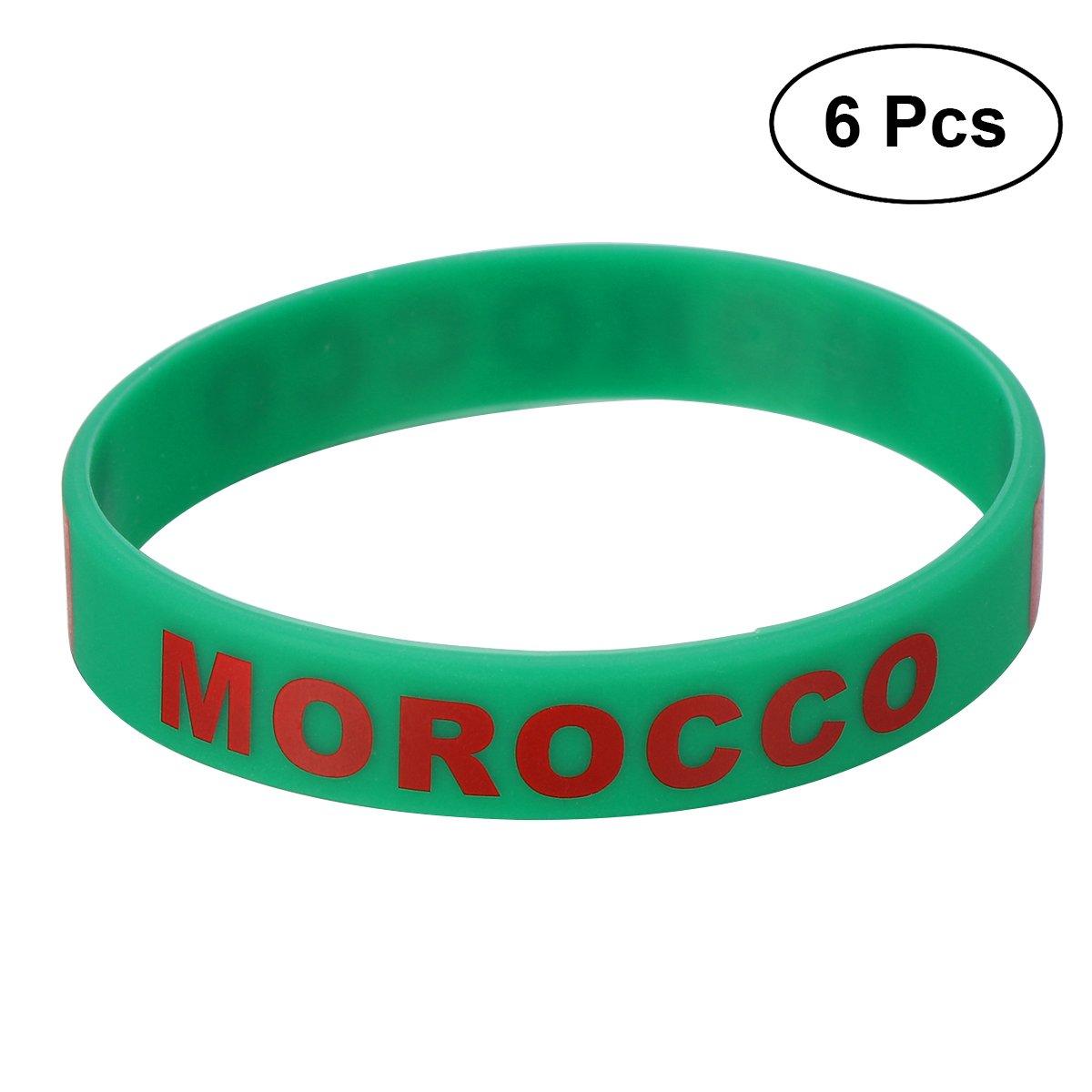 LUOEM Pulsera de silicona con pulsera de silicona inspirada Pulsera de moda con forma deportiva, Unisex Moda de adulto adolescente suprema para Copa Mundial 2018, Paquete de 6 (Marruecos)