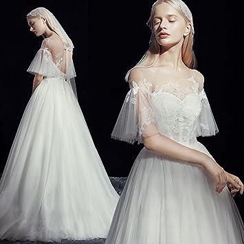 CJJC Vestidos De Novia De Las Mujeres Simples De Moda Tulle Princess Dream Longitud del Piso
