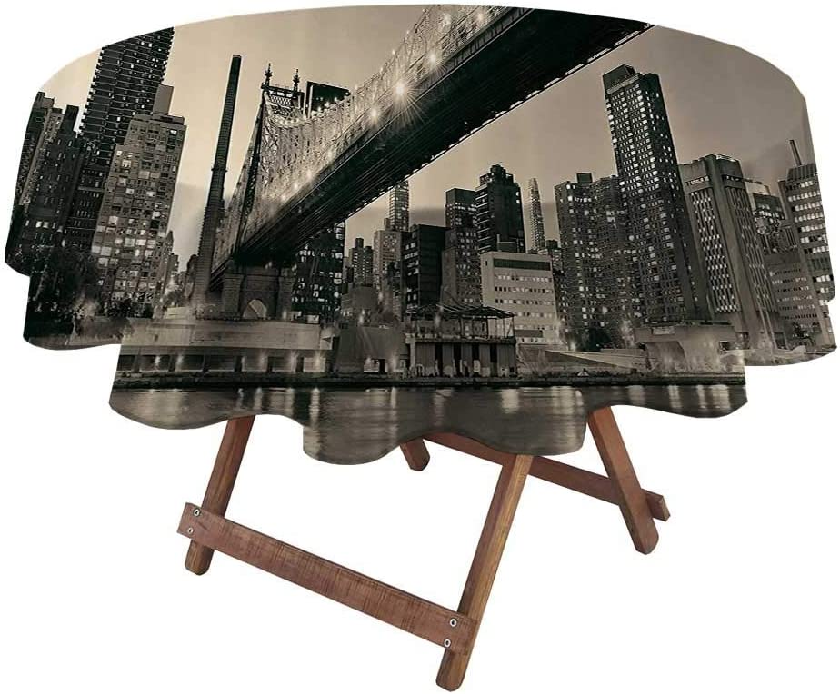 "Indoor Outdoor Tablecloth Queensboro Bridge NYC Night Art Prints New York City View Modern Bathroom Selection Urban Home Decor Ombre Christmas Tablecloth Round Gray Brown 60"" Diameter"