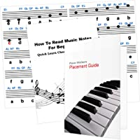 Piano Stickers 88 Keys or Less, Placement Guide and Free 12 Page Booklet - Perfect Piano Stickers for Kids, Adults and Beginners who want to Learn Piano Notes the Fast Way