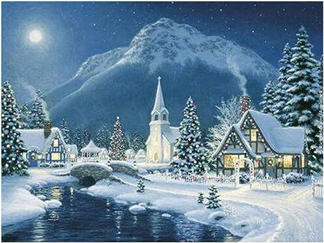 5D DIY Full Drill Diamond Painting Snow Mountain Tiger Cross Stitch Mosaic NIGH