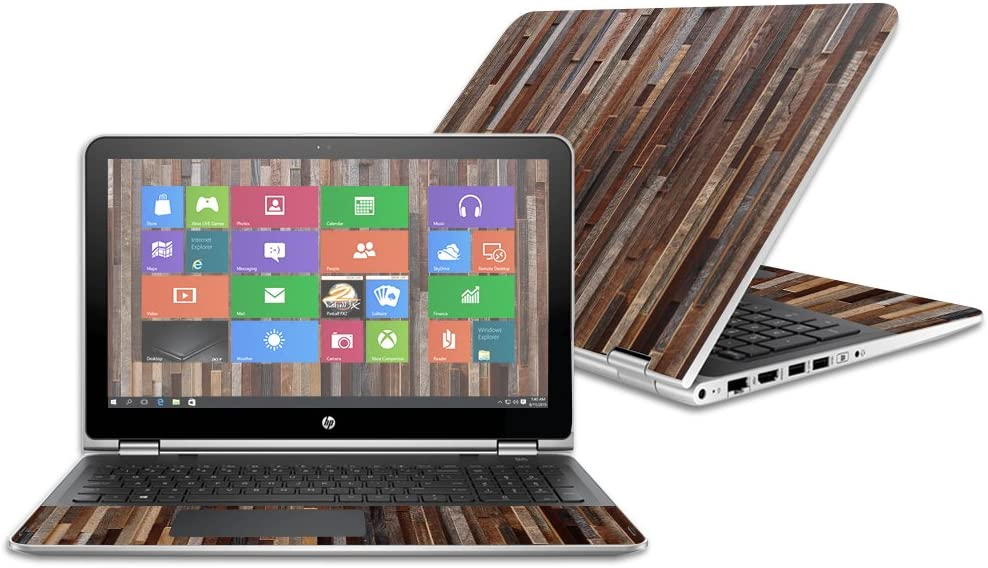 Durable 2016 Made in The USA Easy to Apply and Change Styles Remove MightySkins Skin Compatible with HP Pavilion x360 15.6 Protective and Unique Vinyl Decal wrap Cover - Woody