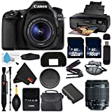 6Ave Canon EOS 80D DSLR Camera with 18-55mm Lens International Version (No Warranty) + Epson SureColor P600 Inkjet Printer + 16GB & 32GB SDHC Class 10 Memory Card + Carrying Case Bundle