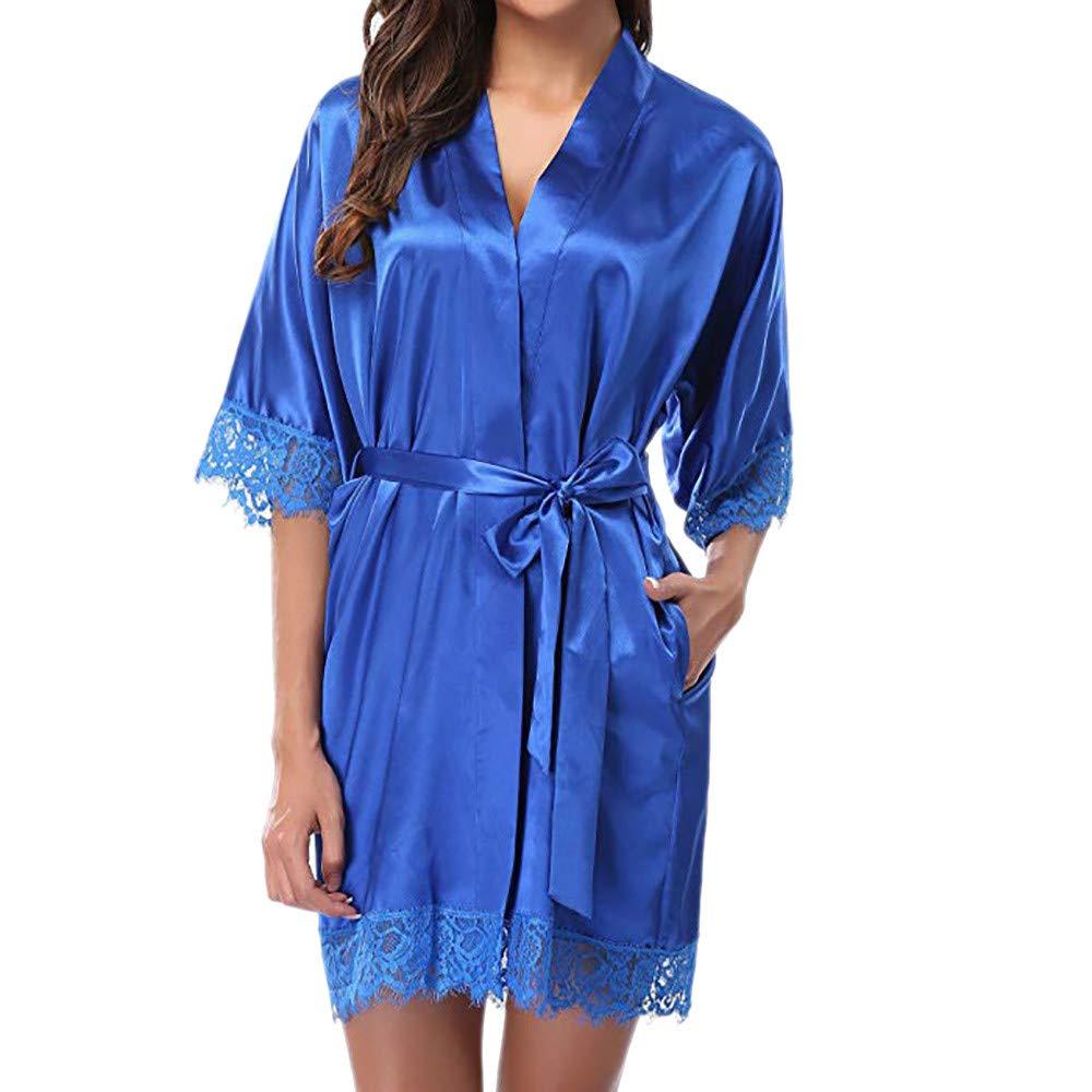 Joyance Women's Sexy Lace Panel Silk Pajamas Robe, Large Size Thong Thong Pajamas Temptation Set Blue