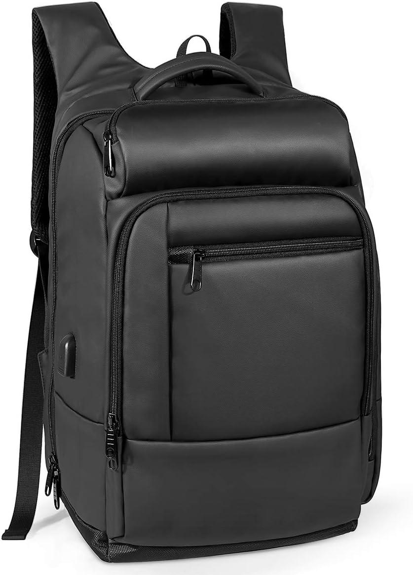 NATURALIFE Mochila para Viaje, Mochila Laptop portátil con Bolsillo Aislado, Bolsillo de Seguridad, Exterior Resistente al Agua y Puerto de Carga USB, Negro