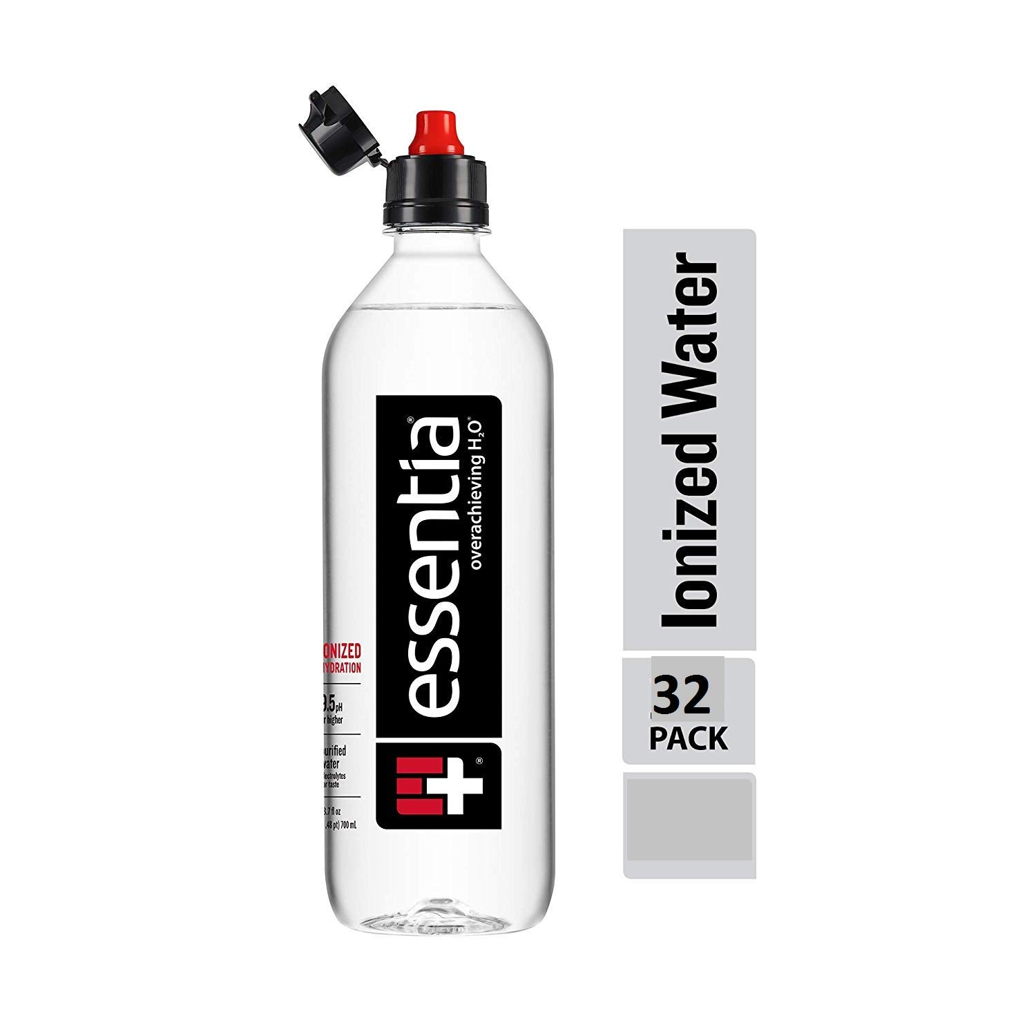 Essentia Water; 700-ml Bottle; 32 pack; Ionized Alkaline Water with 9.5 pH or Higher; Purified Drinking Water Infused with Electrolytes for a Clean and Smooth Taste; Sports cap (Pack of 32)