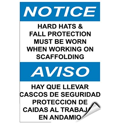 Notice Hard Hats & Fall Protection Must Need When Working LABEL DECAL STICKER 5 inches x