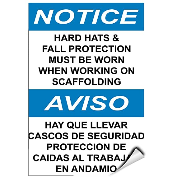 Amazon.com: Notice Hard Hats & Fall Protection Must Need When Working LABEL DECAL STICKER: Sports & Outdoors